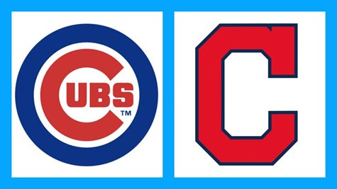 The Cubs Logo Alongside The Indians Logo With A Light Blue Boarder