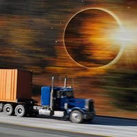 Trucking and the solar eclipse.