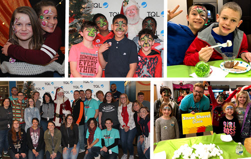 Collage Of Pictures From The TQL Boys And Girls Club Christmas Party
