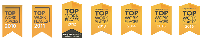 A Graphic Of Seven Different Top Work Places Awards In A Row