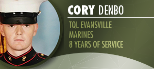 Photo Of Cory  Denbo With His Marine Description To The Right Of It