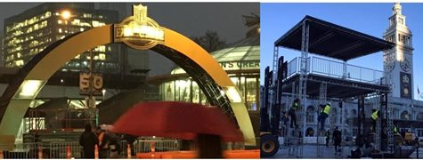 The Golden Archway At The SuperBowl Stadium And A Picture of The Superbowl Setting Up