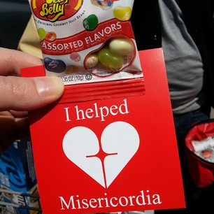 bag of jelly beans and card saying I helped Misericordia