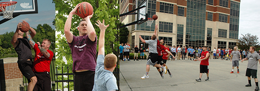 Three Photos Of TQL Employees Participating In Their Basketball Tournament On The TQL Basketball Courts