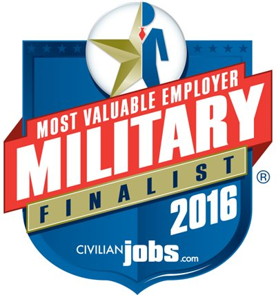 A Badge Graphic For Military Employment With A Logo For Civilianjobs.com