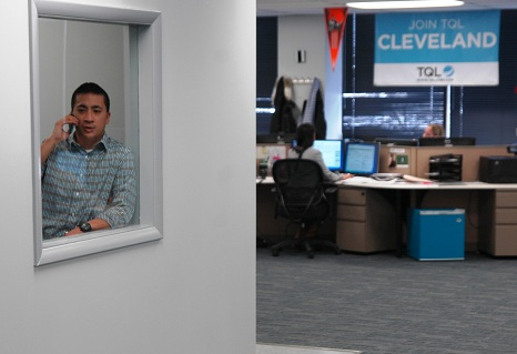 Man on phone in Cleveland office
